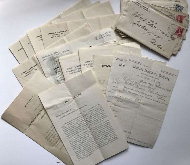 [Group of Manuscripts, Ephemera and Promotional Material for the Lombard Investment Company of Kansas City, Missouri, and Materials Relating to the Solo Investment Business of James L. Lombard]. James L. Lombard Investment Company. Lombard.