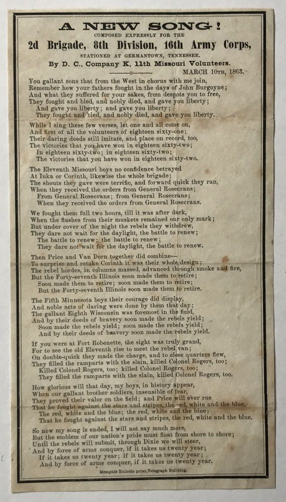 A New Song! Composed Expressly for the 2d Brigade, 8th Division, 16th Army Corps, Stationed at Germantown, Tennessee [caption title]. Civil War.