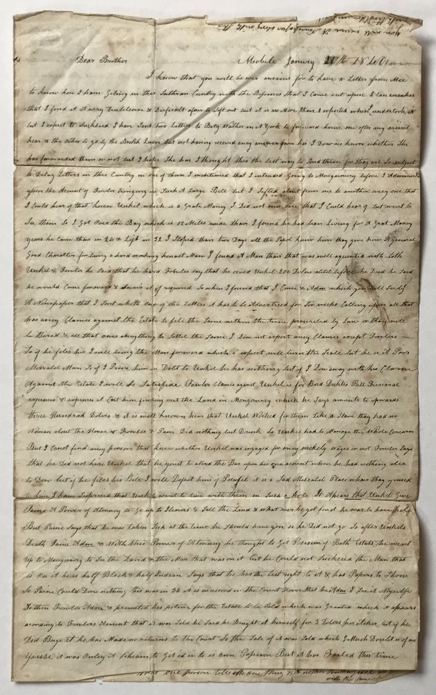 [Autograph Letter, Signed, by an Englishman Settling an Estate in 1840 Mobile, Alabama]. William Dixon, Alabama.