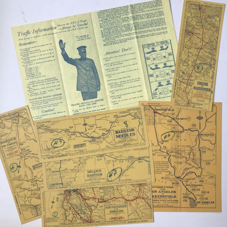 [Group of Eight California Road Maps for San Francisco, the East Bay, and Routes to Barstow and Bakersfield]. California Automobile Association.