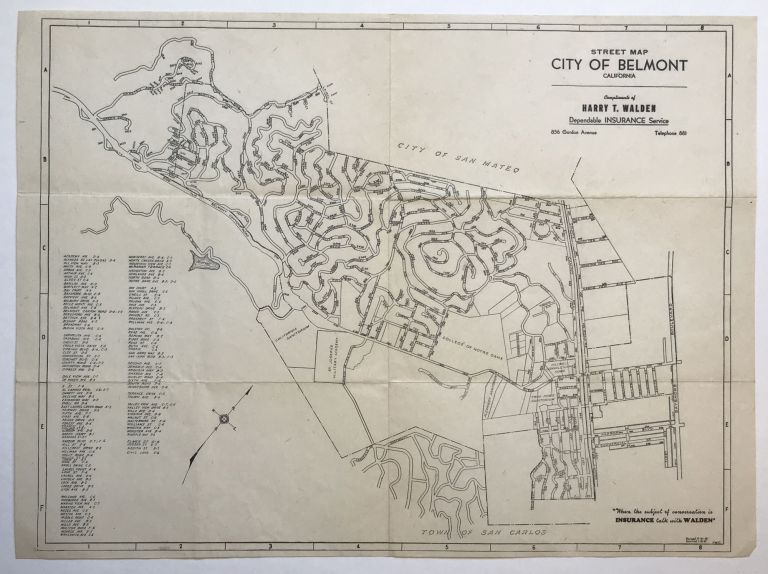 Street Map, City of Belmont, California [caption title]. California.