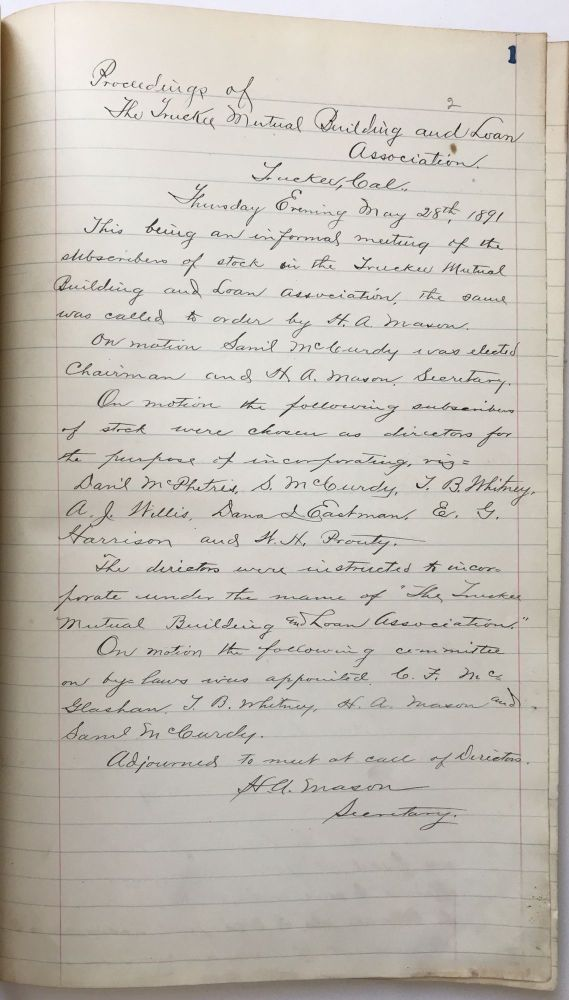 [Manuscript Ledger of the Minutes of the Truckee Building and Loan Association]. Truckee Building, Loan Association.