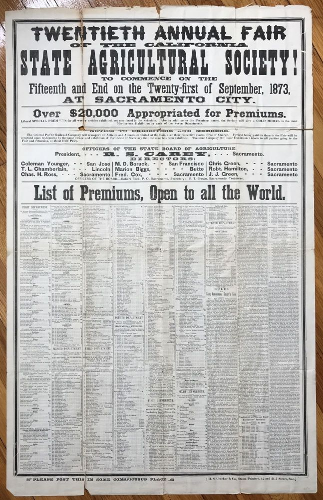 Twentieth Annual Fair of the California State Agricultural Society! To Commence on the Fifteenth and End on the Twenty-first of September, 1873, at Sacramento City [caption title]. California, Agriculture, Viticulture.