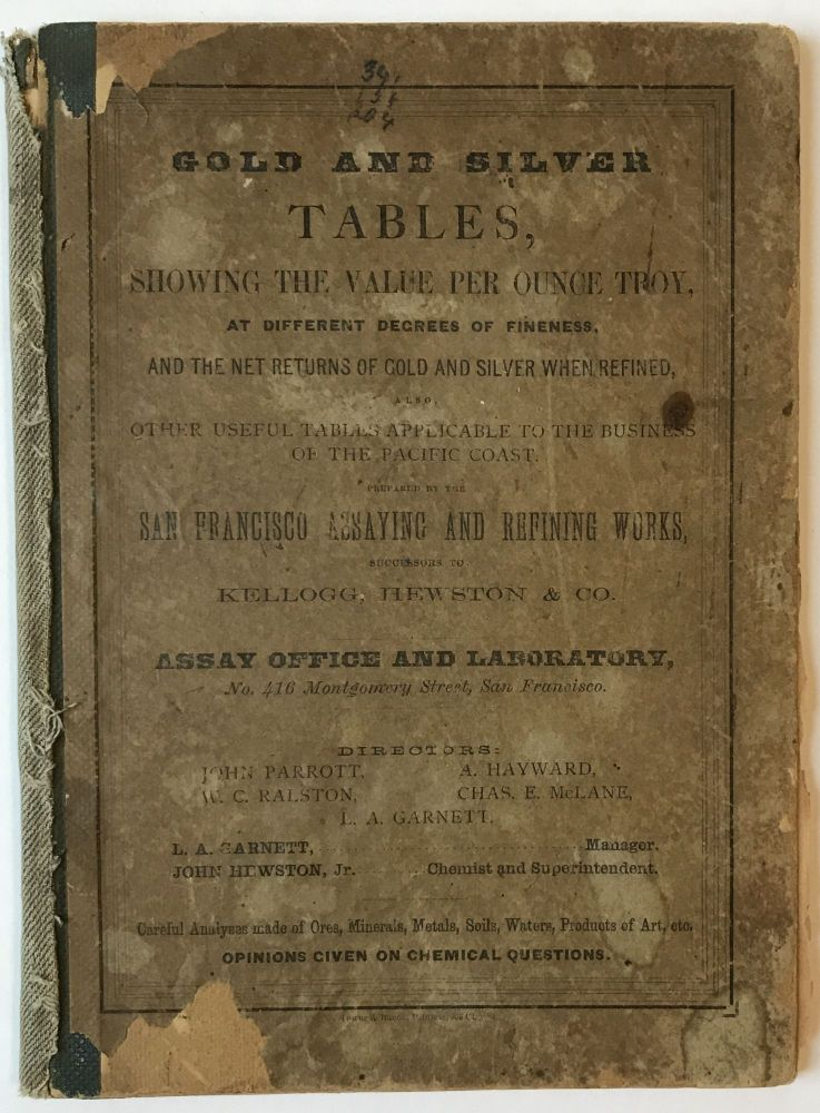 Tables of the Value of Gold and Silver per Ounce Troy, at Different Degrees of Fineness. Also, Tables Showing the Net Returns from Gold and Silver of Different Fineness, When Made in Coin or Fine Metal. California.