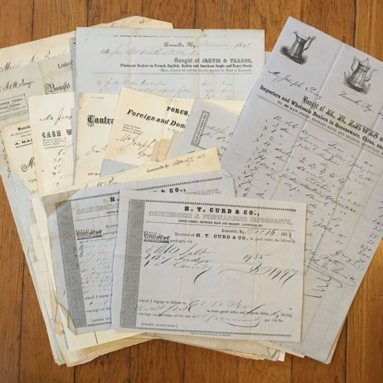 [Archive of Louisville-area Merchants, Consisting of Receipts for Goods Purchased]. Kentucky.