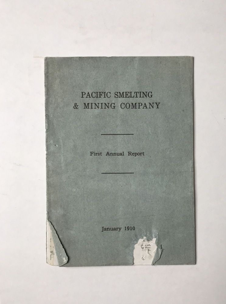 Pacific Smelting & Mining Company. First Annual Report [cover title]. Mexico, Mining.