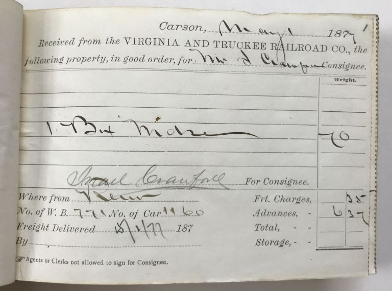 [Freight Receipt Book for the Carson City Station of the Virginia & Truckee Railroad in 1877]. Nevada, Railroads.