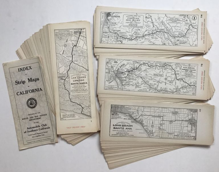 [Collection of Nearly 140 Strip Maps of California Roads and Highways, with Printed Map Index, Published by the Automobile Club of Southern California]. California, Automobiles.