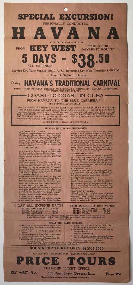 """Special Excursion! Personally conducted Havana Vivid with Foreign Color! From Key West """"the Scenic Daylight Route"""" [caption title]. Cuba."""
