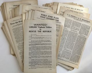 Large Archive of 1930s Anti-Semitic, Anti-New Deal, Pro-German Broadsides and Handbills...