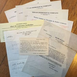 Eight 1920s Documents Relating to Potential Fraud Perpetrated on a Shareholder of the Allied Oil...