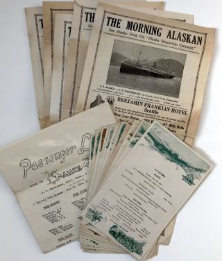 Archive of Ephemera from a Voyage to Alaska Aboard the Alaska Line, Including Menus and Five...