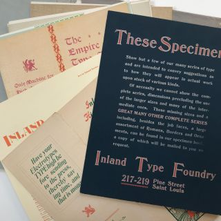 Specimens of Printing [cover title]. Typography