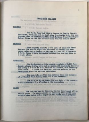 [Typescript Report on Castle Rock Coal Mine, with Maps and Photographs]