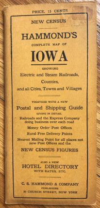 Hammond's Complete Map of Iowa: Showing Electric and Steam Railroads, Counties, and All Cities,...