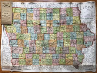 Complete Map of Iowa Showing Principal Automobile Roads...