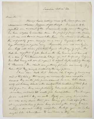 Autograph Letter, Signed, from Henry Brackenridge to James Causten Regarding the War with...