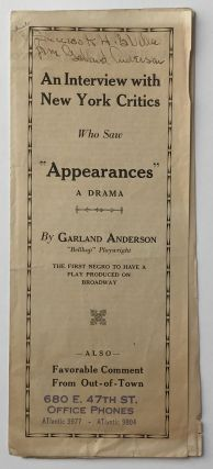 "An Interview with New York Critics Who Saw ""Appearances"" a Drama. African-Americana, Garland..."
