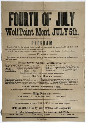 Fourth of July Wolf Point, Mont. July 5th. Program... [caption title]. Montana