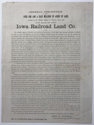General Description of over One and a Half Million Acres of Land, Located in the Middle Region of Western Iowa, and for Sale by the Iowa Railroad Land Co. [caption title]