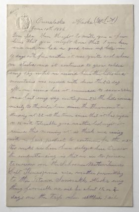 Manuscript Letter, Signed, by S.L. Beckwith, Describing Unalaska in 1886]. Alaska, S. L. Beckwith