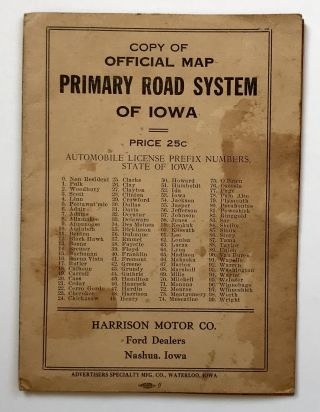 Copy of Official Primary Road System of Iowa [cover title]