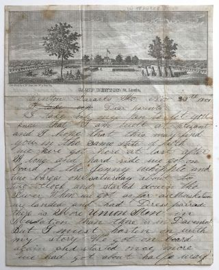 Autograph Letter, Signed, on Pictorial Lettersheet with a View of Camp Benton in St. Louis]....