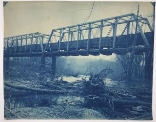 Three Large Cyanotypes of a Railroad Bridge Across the Missouri River Near Council Bluffs, Iowa,...