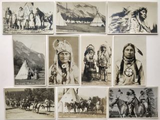 Series of Nineteen Real Photo Postcards of Nakoda Native Peoples in and Around Banff]. Byron Hill...