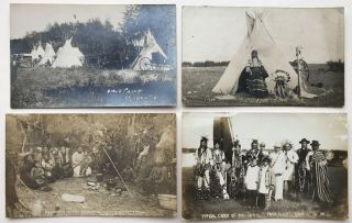 Four Real Photo Postcards Depicting First Peoples in Saskatchewan]. Native Americans, Canada