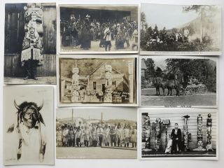 Thirteen Real Photo Postcards Depicting First Peoples in British Columbia, and Two from Alaska]....
