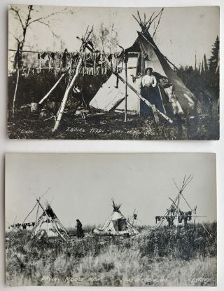 Two Real Photo Postcards Depicting Native Peoples at Lake of the Woods, Ontario]. Canada, Carl...