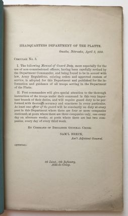 Circular No. 5, of 1888, Department of the Platte. Manual of Guard Duty [cover title]