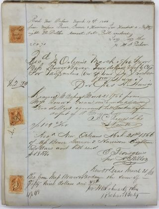[Manuscript Receipt Book for Commission Merchants Bower, Garner & Harrison of New Orleans During the Early Years of Reconstruction]