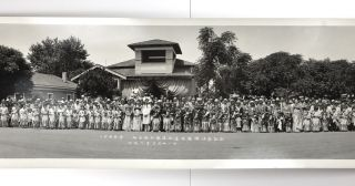 "Panoramic Photograph, Captioned in Japanese: ""Buddhist Church. Placing the Buddhist statue back..."