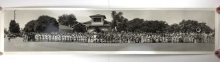 "[Panoramic Photograph, Captioned in Japanese: ""Buddhist Church. Placing the Buddhist statue back in its place following building program. Memorial Service 1931. May 31st""]"