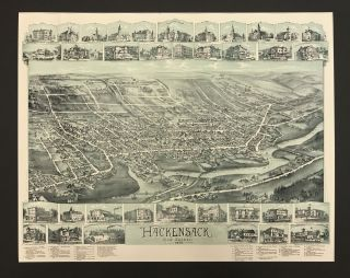 Hackensack, New Jersey. Bird's Eye Views, New Jersey