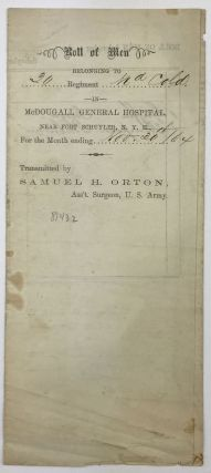 Printed Document, Completed in Manuscript, Recording U.S. Colored Troop Soldiers in Hospital]....