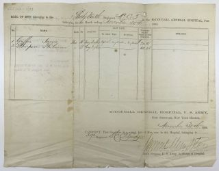 [Printed Document, Completed in Manuscript, Recording U.S. Colored Troop Soldiers in Hospital]