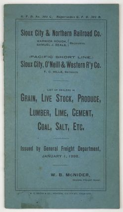 Sioux City & Northern Railroad Co. ... (Pacific Short Line.) Sioux City, O'Neill & Western R'y...
