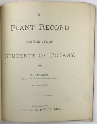 A Plant Record for the Use of Students of Botany