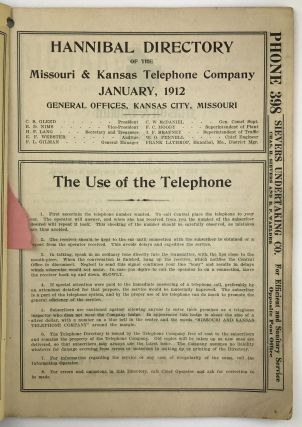 Hannibal Directory of the Missouri & Kansas Telephone Company. January, 1912
