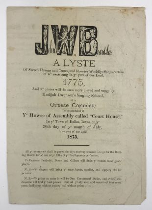 John W. Beardslee. A Lyste of Sacred Hymns and Tunes, and Likewise Worldlye Songs Certain of Wh....