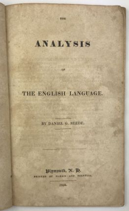The Analysis of the English Language. Daniel G. Beede