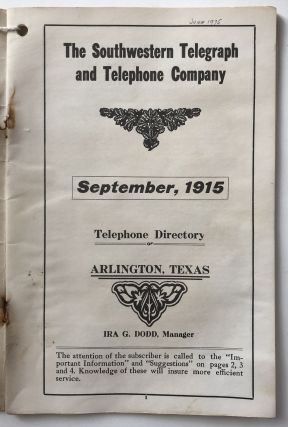 The Southwestern Telegraph and Telephone Company. September, 1915. Telephone Directory of Arlington, Texas