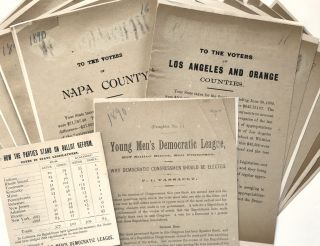 Group of Twelve Handbills Defending Legislative Expenditures in California Before the 1890...