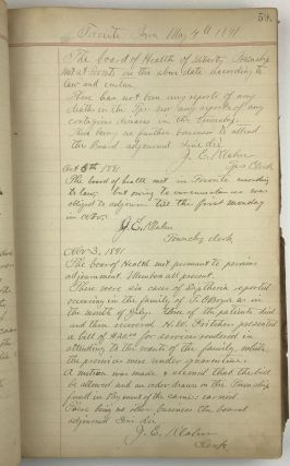 Record of the Board of Health of Liberty Township, Clinton Coy. Iowa [manuscript caption title]