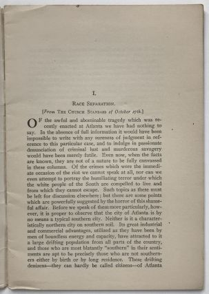 The Church and the Negro. Five Editorial Articles from The Church Standard [cover title]