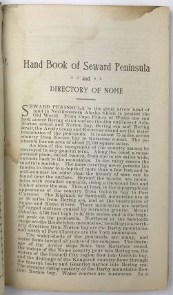 Harrison's Handbook Seward Peninsula and Directory of Nome and Council [cover title]