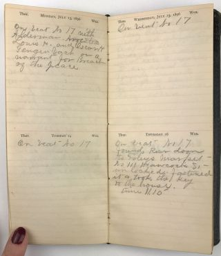 [Diary of San Francisco Policeman F. Andersen Recording Activities on the Beat During 1896]